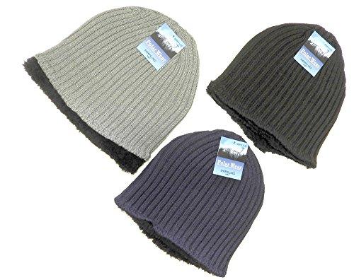 Polar Wear Mens Unisex Sherpa Fleece Lined Knit Hat Beanie Warm Lined