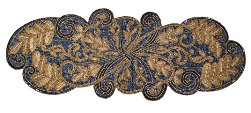 Cotton Craft - Beaded Table Runner - Scrolling Leaves - Navy - 13x36 - Hand Made by Skilled Artisans - A Beautiful Complement to Your Dinner Table Décor - Spot - Beaded Leaf