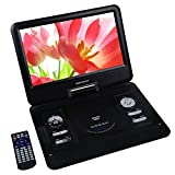 "DBPOWER 13.3"" Portable DVD Player,2 Hours Rechargeable Battery,Swivel Screen,Supports SD Card and USB, Direct Play in Formats MP4/AVI/RMVB/MP3/JPEG (Black)"