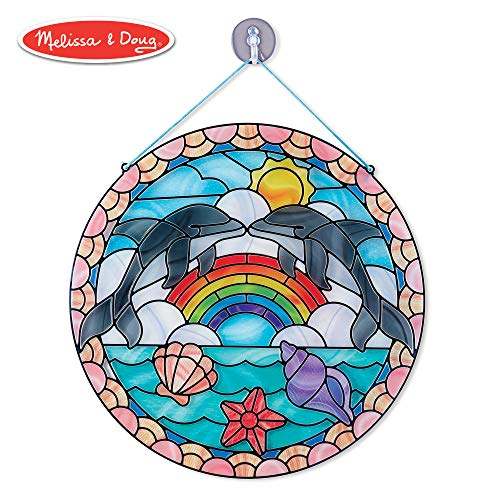 Melissa & Doug Stained Glass Made Easy Activity Kit, Arts and Crafts, Develops Problem Solving Skills, Dolphins, 180+ Stickers (Stain Glass For Kids)