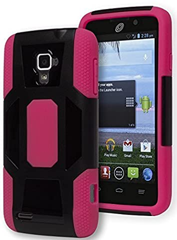 Rapido LTE Case - Bastex Heavy Duty Hybrid Case - Pink Silicone Cover with Hard Black Shell Case for ZTE Rapido LTE (Zte Rapido Phone Cases)