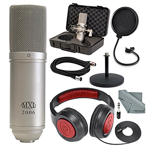 MXL 2006 Large Diaphragm Condenser Microphone Deluxe Bundle with Headphones + Mic Stand + Pop Filter + Cable