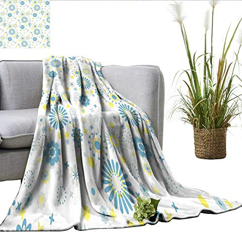 ScottDecor Yellow and Blue Lightweight Thermal Blankets Soft Spring Pattern with Various Abstract Blossoms Little Stars Full Blanket Light Grey Blue Yellow W60 xL70 Cotton Braided Star Blossom