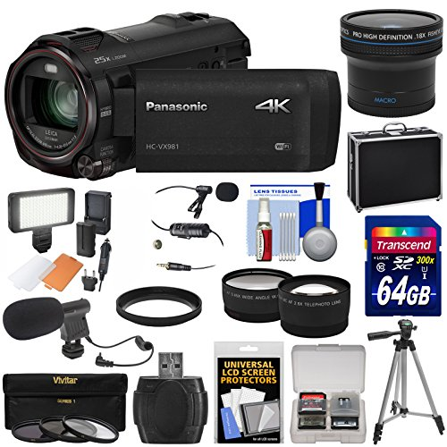 Panasonic HC-VX981 Wi-Fi 4K Ultra HD Video Camera Camcorder with 64GB + Case + Tripod + LED Light + 2 Mics + Filters + Fisheye, Tele/Wide Lenses Kit by Panasonic