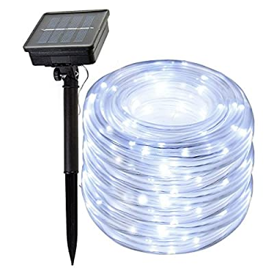 SIMPZIA 100 LED 30 ft Solar Rope Lights Waterproof IP55 Solar String Lights with 1800mRh Battery For Yard,Garden,Pool,Patio,Deck,Fence,Landscape