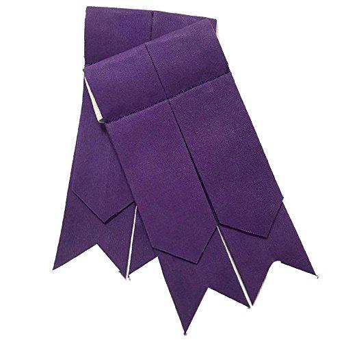Scottish Kilt Hose Sock Flashes Various Tartan Garter Pointed Acrylic Wool Flashes (Plain Purple) by Clan Tartan (Image #1)