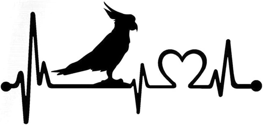 bannor Wall Decal Sticker Art Mural Home Decor Car Styling Stickers Cockatoo Bird Heartbeat Car Stickers and Decals Car Body Window Stickers for Universal Cars