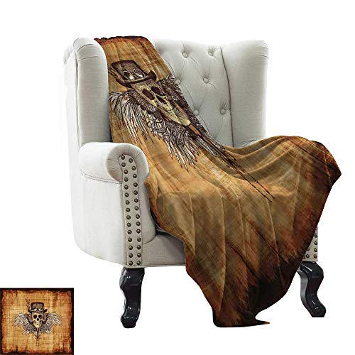 - BelleAckerman Children's Blanket Skull,Cool Skull Icon on Parchement Background Retro Style Dead on Eagle Wings Gothic,Brown Orange Lightweight Microfiber,All Season for Couch or Bed 60