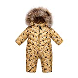 XIRUI Down Children Winter Jumpsuit Lovely Rompers Baby Girl Winter Coat Warm Boys Snowsuit Overalls Hooded Winter Romper with Fur for 3-30mothes (Gold Bear, Etikett 73cm(3-6 mothes))