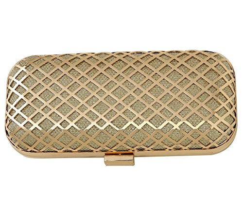 PARADOX (LABEL) Gold Metal Case Hand Box Clutch for Women