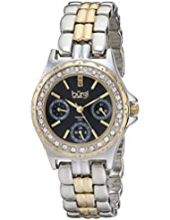 Burgi Womens BUR117TTG Diamond & Crystal Accented Guilloche Black Dial Yellow Gold and Silver Bracelet Watch