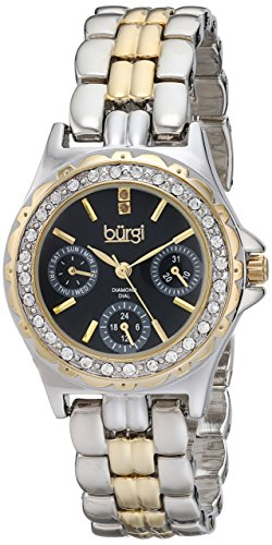Burgi Women's BUR117TTG Diamond & Crystal Accented Guilloche Black Dial Yellow Gold and Silver Bracelet Watch