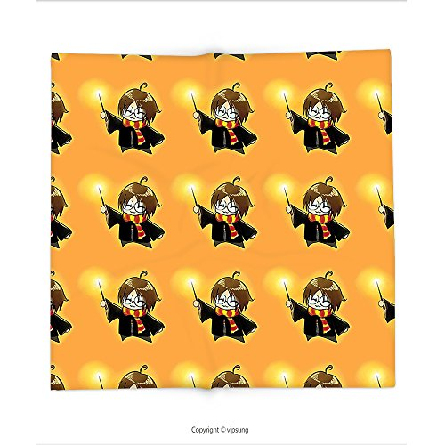 Custom printed Throw Blanket with Wizard by Cartoon Character with Glasses in Costume Frock Holding Wand Pattern Magic Anime Art Decor Orange and Black Super soft and Cozy Fleece Blanket - Fly Guy Character Costume