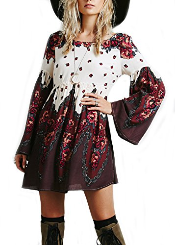 Sheinside® Women's Red Long Sleeve Vintage Print Backless Dress (S, Red)
