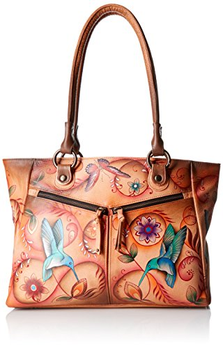 Anuschka Handpainted Leather Large Shopper with Front Pockets, Flying Jewels (2 Pocket Shopper)
