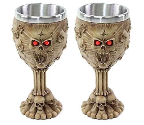 Set of 2 Retro Red Eyes Skulls Wine Goblet Stainless Medieval Collectible Home Decor Gift_Water Cup_Halloween_Horror Film Theme Party Ornamental