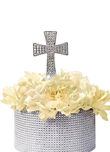 Unik Occasions Crystal Rhinestone Cake Topper - Silver Cross ()