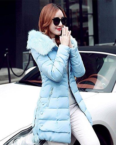 Acolchadas Fit Larga Cuello Abrigos Grandes Slim Abrigados Plumas con Elegantes Mujer Azul Casual Manga Invierno Jacket Chaquetas Parka De Largo Sólido Color Tallas Especial Estilo Outcoat Cremallera Coat xqFFYAw70