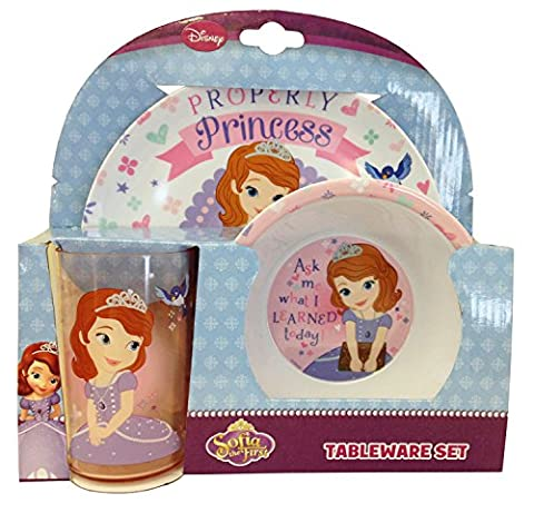 Disney Polypropylene Magical World of Sofia Melamine Tableware Set, Set of 3, Multi-Colour
