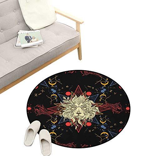 Astrology Modern Flannel Microfiber ,Medieval Mystic Lion Astrological Symbols of Zodiac Antique Style, Round Rug Living Room Bedroom Decor 39