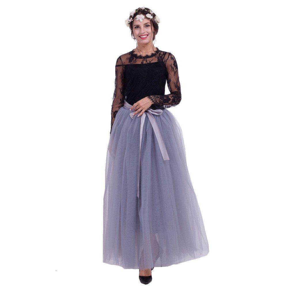 cd964d93bad8 Amazon.com: Women's Vintage Ethnic Style Elegant Mesh Maxi Dress Summer  Slim Fit High Waist Patchwork 7 layer 100CM Net Yarn Skirt Ball Gown  (Grey): Beauty