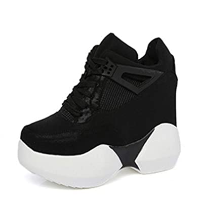 be5631f0e3c Womens Thick Platform Sneakers Height Increasing Lace Up Wedges Casual  High-Top Fashion Sport Shoes