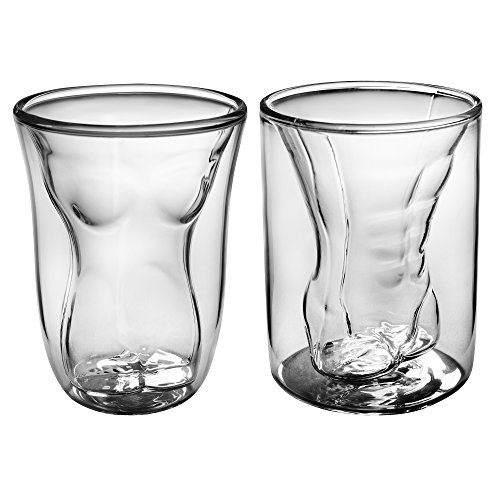 Funny Male Female Shot Glasses 6 Oz 2 Pack | Durable Dual...