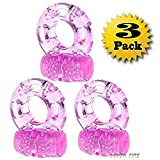 Cock Ring Sex toys for men - Cockring Set male sex toys - Vibrating Cock Ring Penis Ring - Erection Ring - Male Enhancing Cock Ring Vibrator - Sex Ring for Couples,3Pcs (Pink)