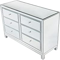 Elegant Lighting MF72017 Reflexion - 48 Dresser, Antique Silver Paint/Clear Mirror Finish
