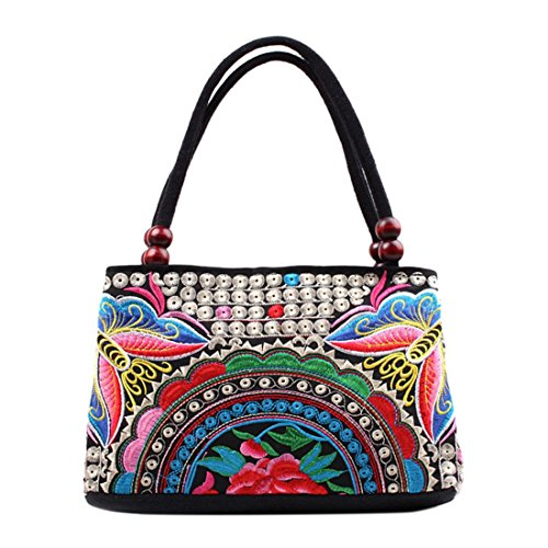 Jiyaru Women Embroidered Handmade Flower Handbag Canvas Embroidery Ethnic Unique National Style Lady Tote Bag (Butterfly Blue)