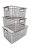 KeKaBox Set of 3 Metal Wire Nesting Storage Baskets with Wood Handles