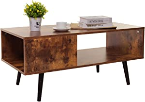 USIKEY Mid-Century Modern Coffee Table for Living Room, Retro Rectangular Cocktail Table with Storage Shelf, TV Table, Sofa Table, Office Table, Accent Table, Easy Assembly, Rustic Brown