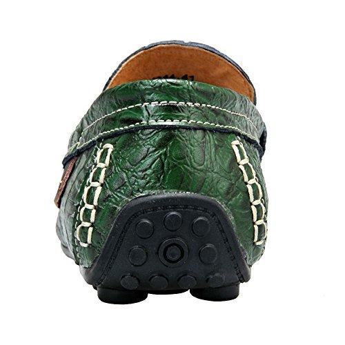 in Alto Pelle Scarpe Mocassini Croco Piatti Jamron Verde All'Acqua Resistente Corsa Uomo Livello da Fodera Calda Stampaggio Elegante n0xqnBA158
