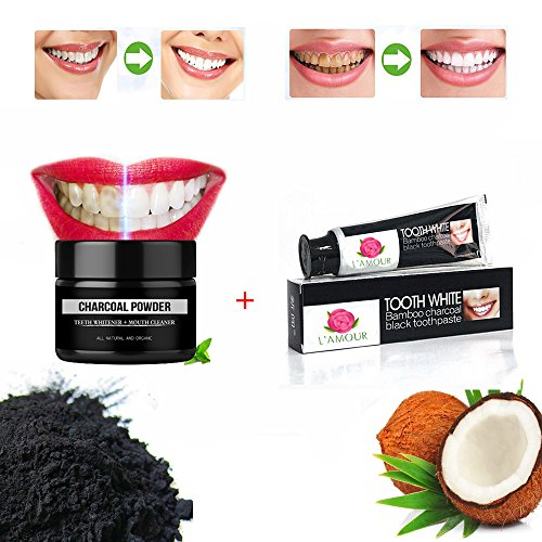 Price comparison product image CHARCOAL 2 PACK - Teeth Whitening Activated Coconut Charcoal Powder (2.2 oz size) + Bamboo Charcoal Toothpaste (4.6 oz) - 100% Natural & Organic Whitener Solution by L'AMOUR