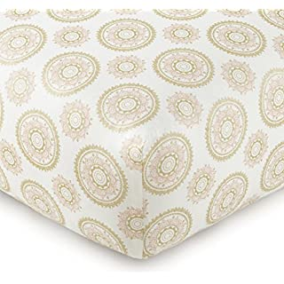 Levtex Baby - Little Feather Pink Crib Fitted Sheet - Fits Standard Crib and Toddler Mattress - Gold Medallion with Coral Pink Accents - Pink Coral Cream Gold - Nursery Accessories - 100% Cotton