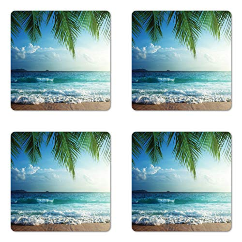 Ambesonne Ocean Coaster Set of 4, Palms Tropical Island Beach Maldives Photography Home Postcard Traveler Explorer, Square Hardboard Gloss Coasters for Drinks, Blue and -
