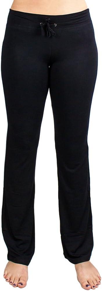 Crown Sporting Goods Soft & Comfy Yoga Pants - 95% Cotton/5% Spandex Blend (Black