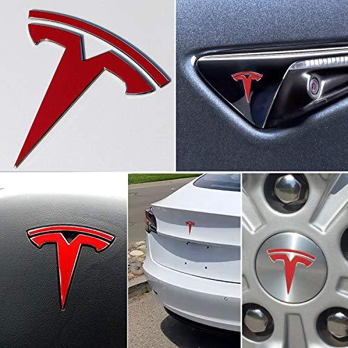 - BASENOR Tesla Model 3 Logo Decal Sticker Wrap Kit (Red)