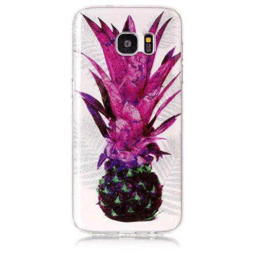 Funda Samsung Galaxy S7 edge,SainCat Moda Alta Calidad suave de TPU Silicona Suave Funda Carcasa Caso Parachoques Diseño pintado Patrón para CarcasasTPU Silicona Flexible Candy Colors Ultra Delgado Li Piña de hoja púrpura