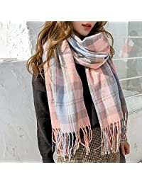 YUANZ Home Autumn and Winter Plaid Shawl Fringed Scarf Female Plaid Contrast Color Matching Warm Shawl (Size : F)