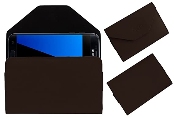 Acm Pouch Case Compatible with Samsung Galaxy S7 Flip Flap Cover Holder Brown Mobile Accessories