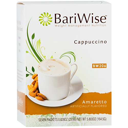 BariWise High Protein Hot Drink / Instant Low-Carb Cappuccino Mix (15g Protein) - Amaretto (7 Servings/Box) - Low Calorie, Low Carb, Low Fat, Gluten Free, Aspartame Free