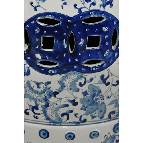 Oriental Furniture 18'' Floral Blue & White Porcelain Garden Stool by ORIENTAL Furniture (Image #3)