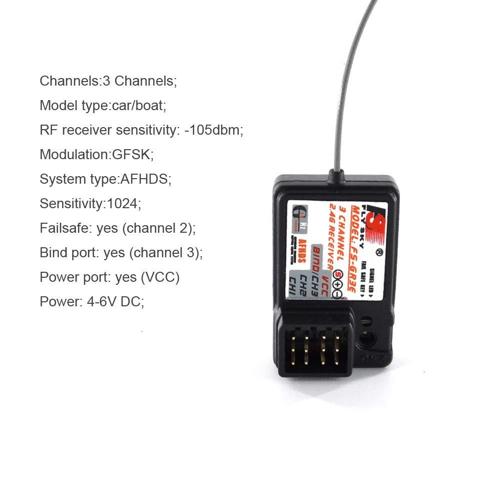 RCapture 3CH 2.4Ghz Receiver Compatible with FS-GT2 FS-GT2B FS-GT3B FS-GT3C FS-GT3X FZ-IT4S Transmitter RC Car Boat Truck 2PCS Flysky Long Range FS-GR3E Receiver