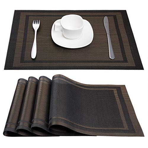 Artand Placemats, Heat-Resistant Placemats Stain Resistant Anti-Skid Washable PVC Table Mats Woven Vinyl Placemats, Set of 6 (Black+Gold)