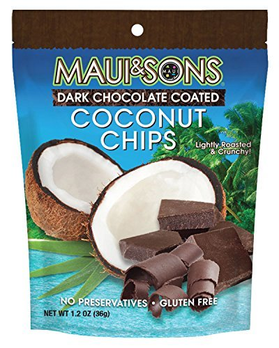 colate Coated Coconut Chips 6 bags 1.2 oz (Dark Coconut)