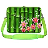 Meffort Inc 17 17.3 Inch Green Color Matching Neoprene Laptop Carrying Sleeve Bag with Hidden Handle and Shoulder Strap - Bamboo