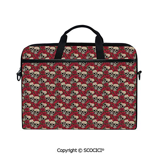 Laptop Sleeve Notebook Bag Case Messenger Shoulder Laptop Bag Graphic Skulls and Red Rose Blossoms Halloween Inspired Retro Gothic Pattern with Handle and Extra Side Pockets ()