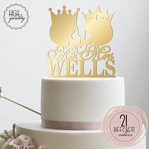 Mr Mrs Skull King Queen Crown Personalized Wedding Cake Topper Customized Last Name Halloween Wedding | Mirrored Cake (Name The Day After Halloween)