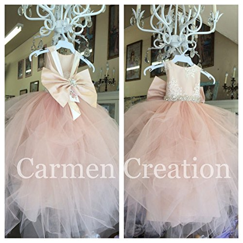 Mini Bride Flower Girl Dress Blush Pink by Carmen Creation